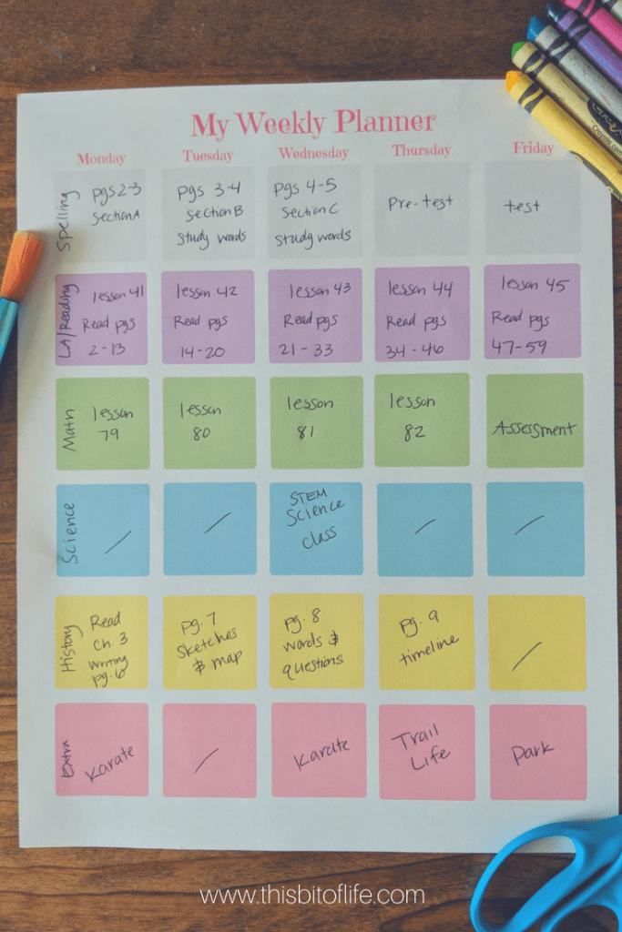 free weekly planner pink