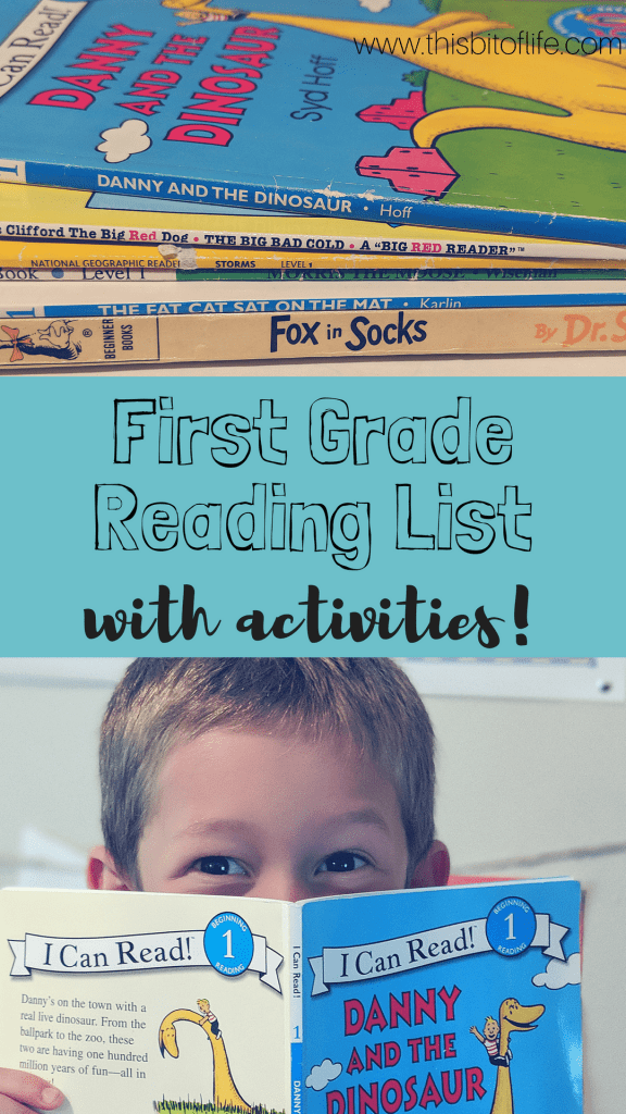 First grade reading list with activities already done for you! This list is full of fun activities and the books are the perfect easy readers for kids. #readinglist #firstgrade #homeschool
