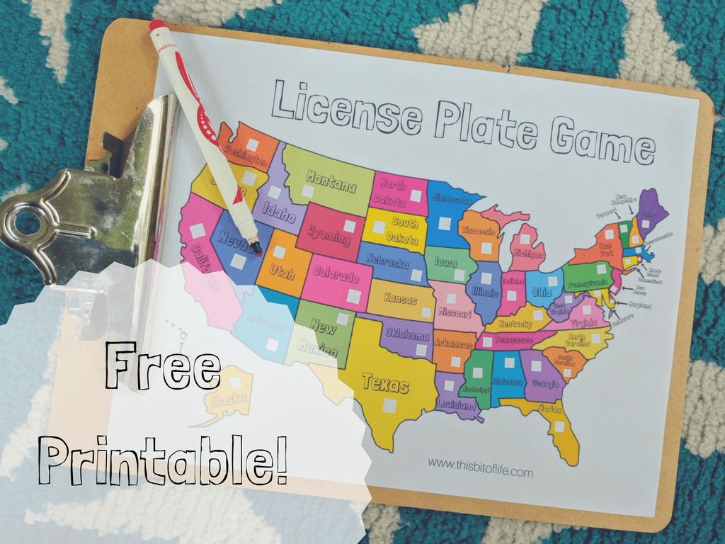 free license plate game to learn geography through travel