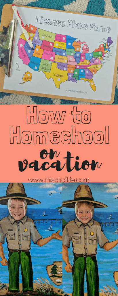 How to homeschool on vacation and still have a LOT of fun! Plus, a FREE license plate game printable! #homeschool #vacation #freeprintable #licenseplategame