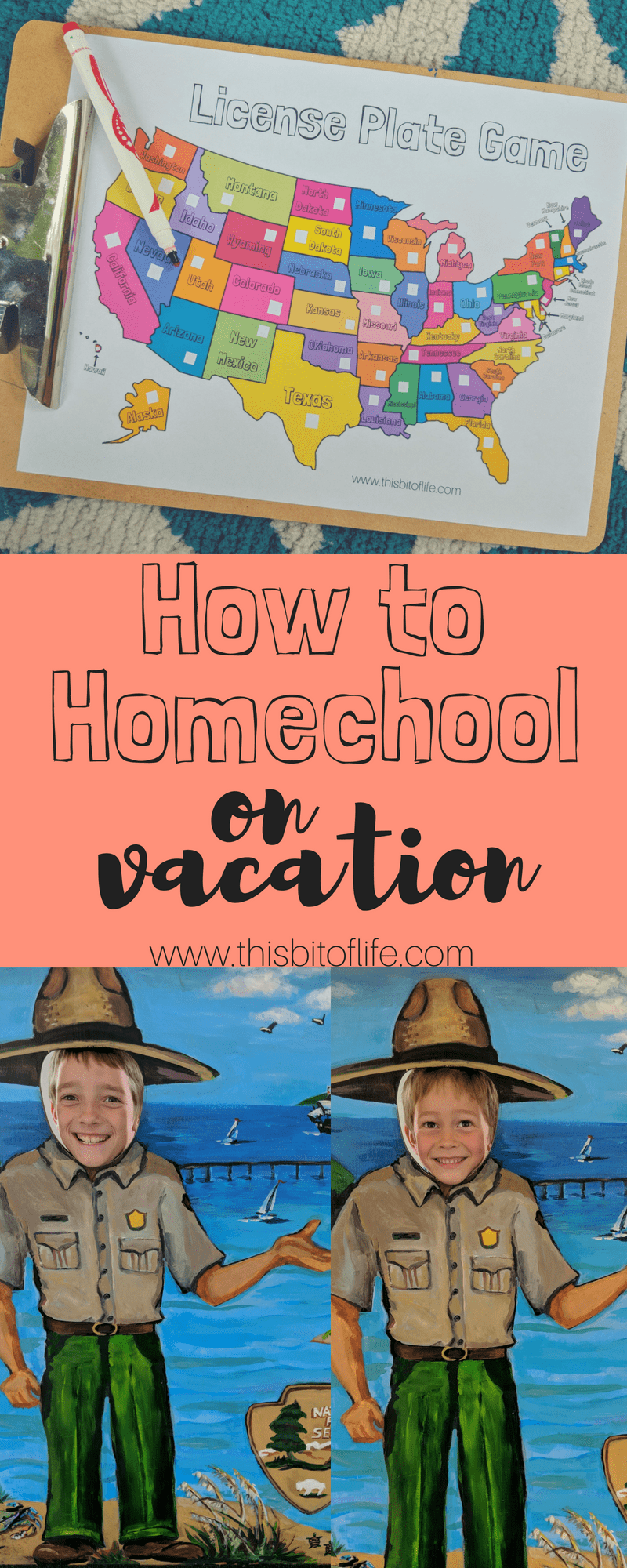 How to Homeschool on Vacation with FREE license plate game printable! #homeschool #homeschooling #roadschooling #licenseplategame #roadtrip #freeprintable