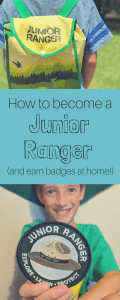 How do you become a Junior Ranger? Find out how we add this to our homeschool, and how you can earn badges at home! #juniorranger #nationalparks #homeschool