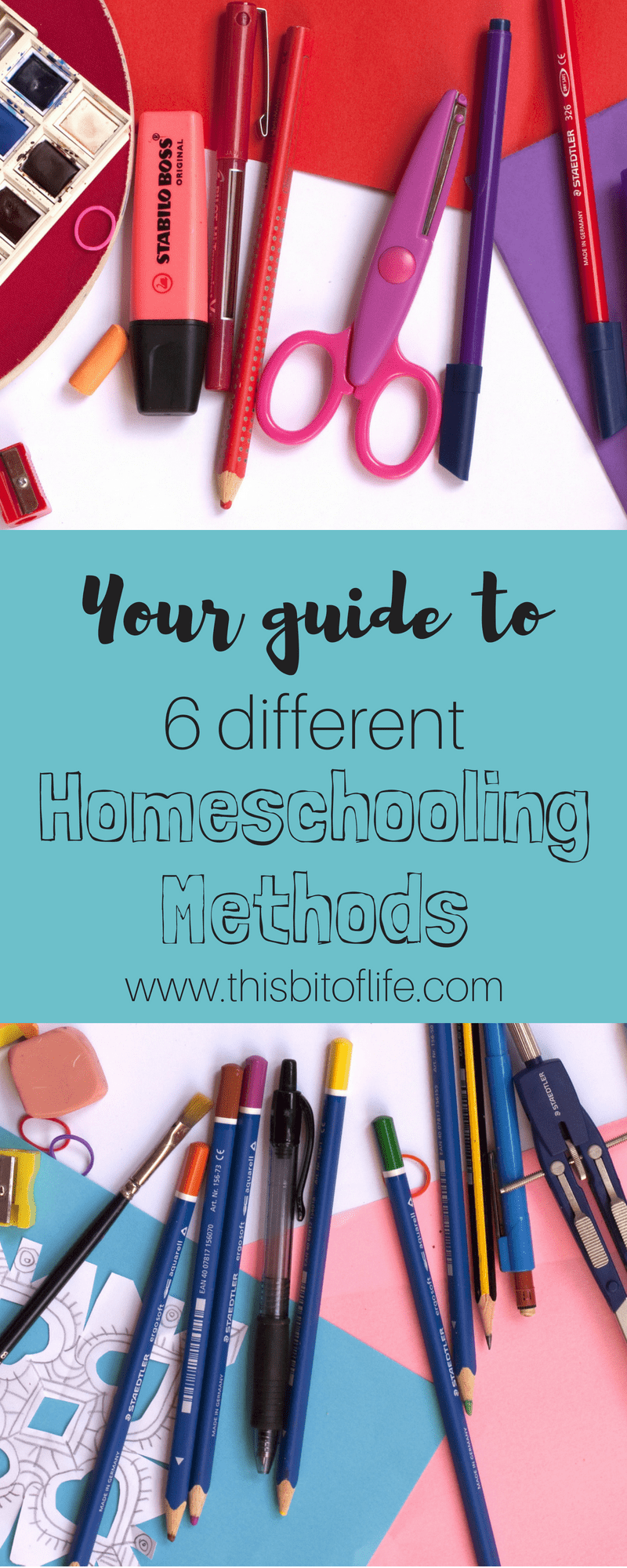 Your Guide to 6 Different Homeschooling Methods. This guide will help you learn which homeschool method suits your family's needs the best. #homeschool #homeschoolingmethods