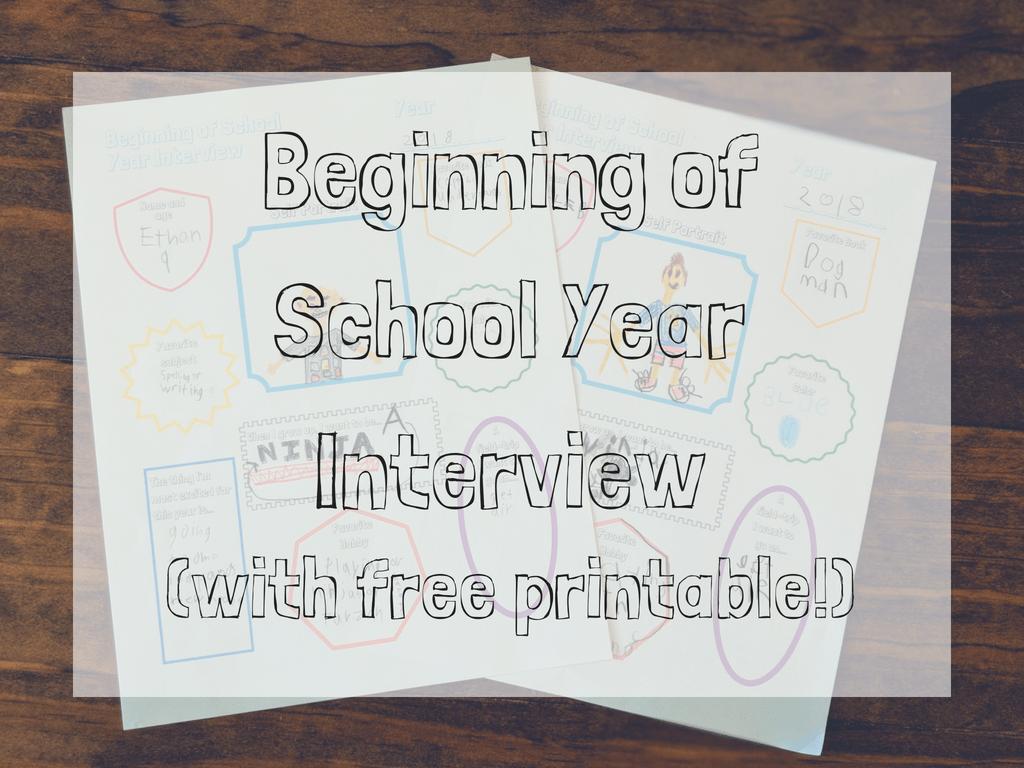 beginning of school year interview