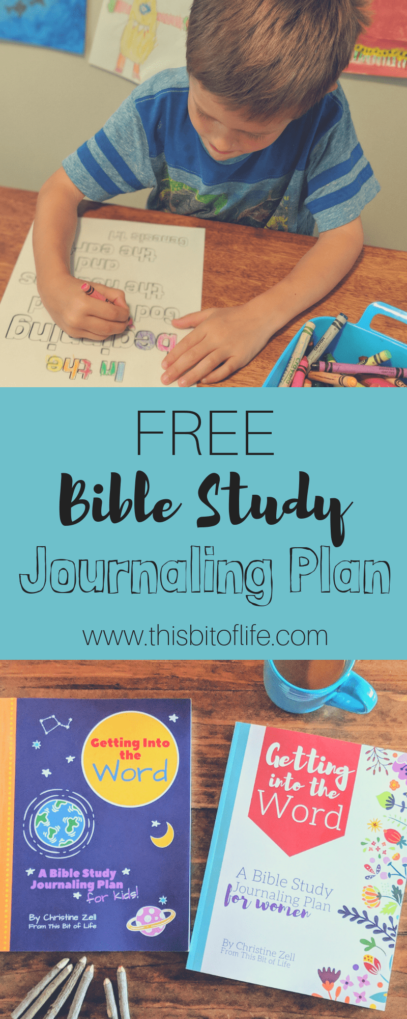 A free Bible Study Journal along with a 6 month reading plan. Get into  the Word together with your family! There are journal options for both women and children, complete with memory verses, coloring pages, and more.   #biblestudy #biblejournal #homeschoolbible