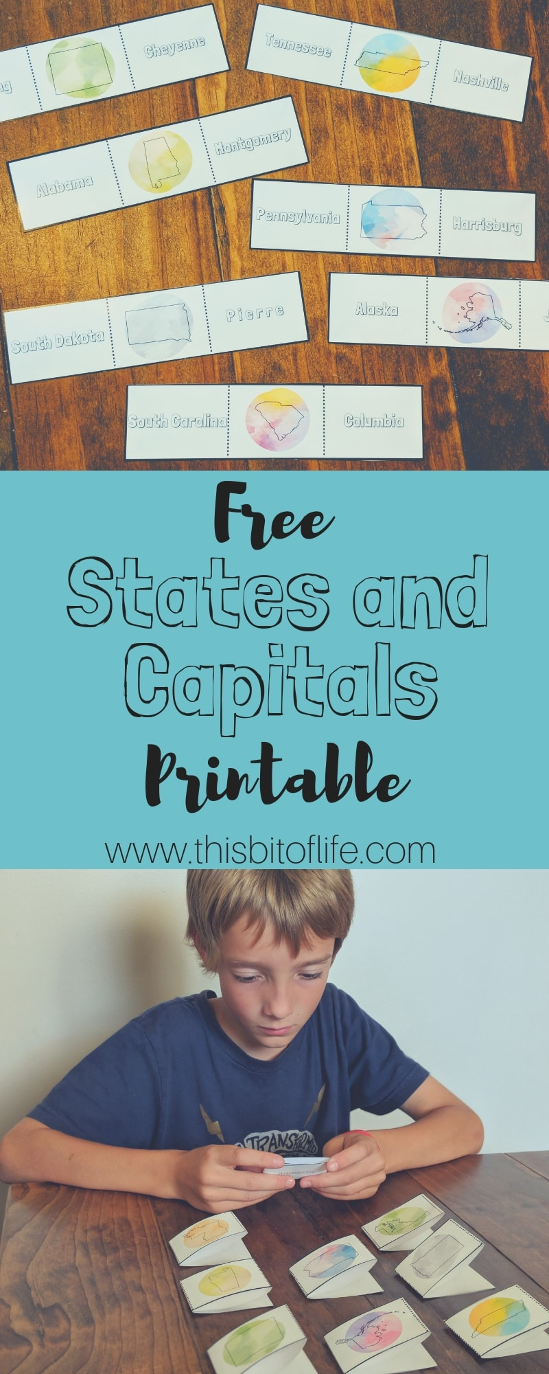 Free States and Capitals Printable. Need a fun way to learn states and capitals in your homeschool? My free printable states and capitals cards are perfect to use a flashcards, independent study, and even as a memory game. They're the best free printable you'll add to your homeschool for geography studies! #geography #statesandcapitals #homeschool #freeprintable