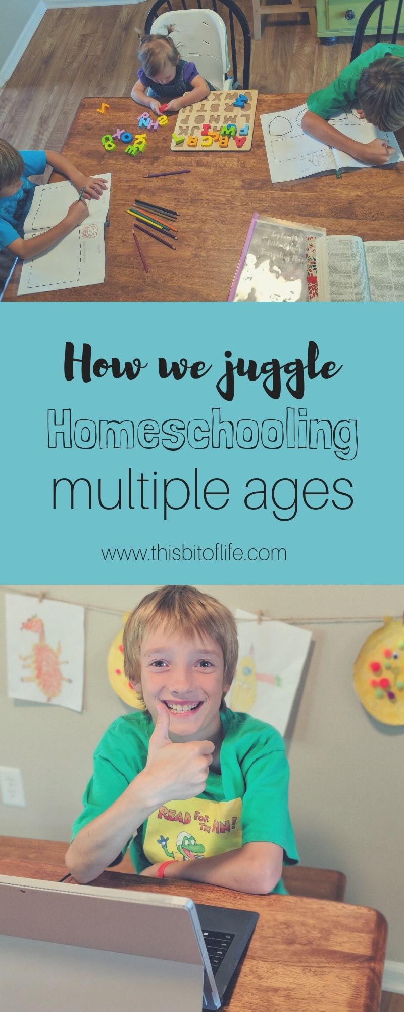 How we juggle homeschooling multiple ages. No matter how many kids you have, homeschooling multiple ages can be an adjustment! Here is how we handle it in our homeschool and how we combine subjects as we're able to. #homeschooling #homeschoolingmultipleages #homeschool #homeschoolmom