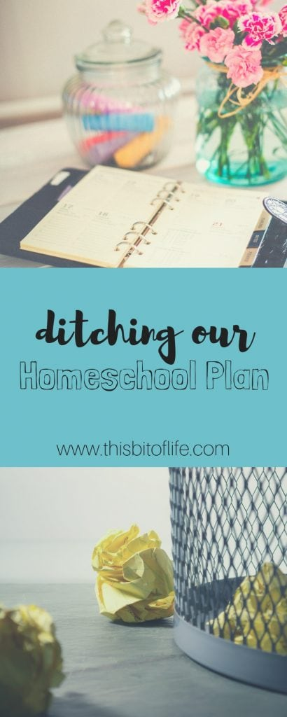 Ditching our homeschool plan has helped our homeschool and saved my sanity! Changing our plans, and getting rid of them all together, has given us a relaxed homeschool and a happier family. And the learning still happens! #homeschool #homeschoolplan #planning #homeschooling