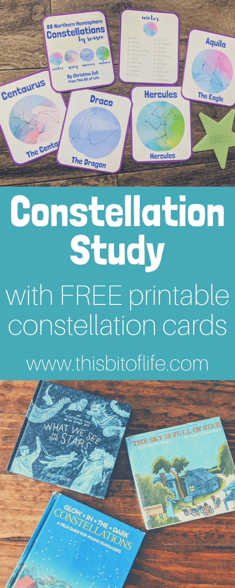 Constellation Study with free printable constellation cards. We studies the constellations in our homeschool and read some wonderful books, worked on handicrafts, and used these free constellation cards printable! #freeprintable #constellations #homeschooling #homeschoolprintable #unitstudy