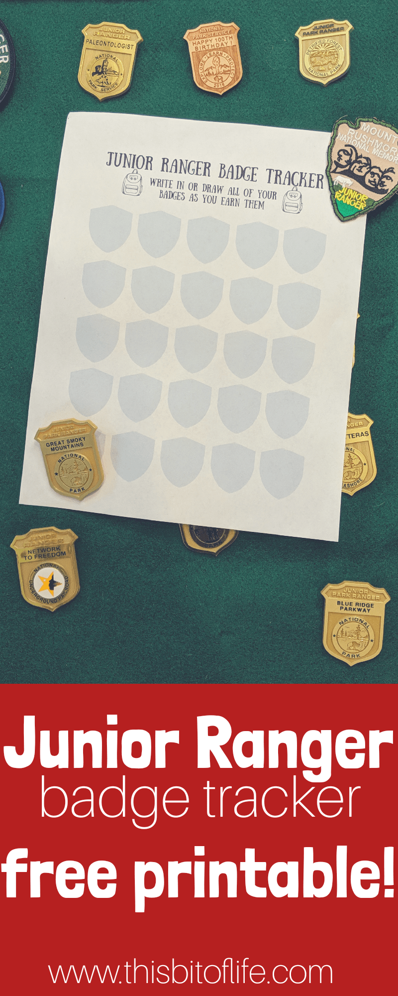 Free Junior Ranger Badge Tracker Printable. Don't want to risk losing all your badges at the parks? Leave them at home and keep track of your Junior Ranger Badges with this free printable! #freeprintable #juniorranger #roadschooling #nationalparks #kidsinparks
