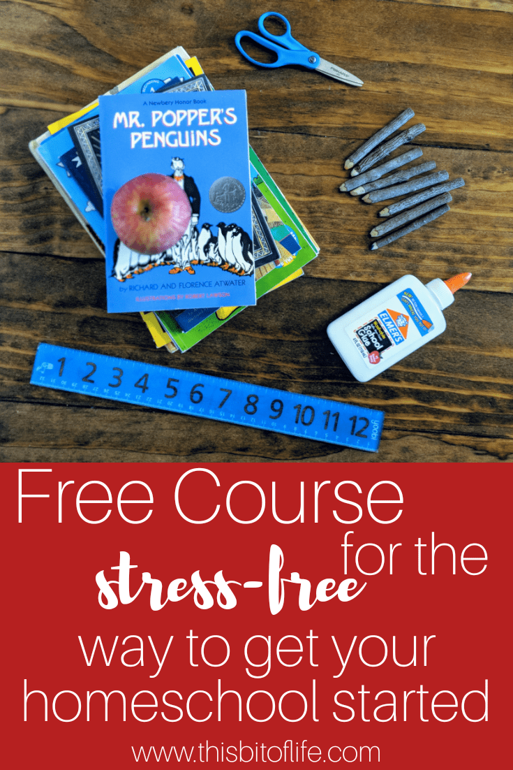 Free Course for the Stress-Free Homeschool. This course will cover how to get started, planning, curriculum, and more! #homeschooling #homeschoolcourse #howtohomeschool