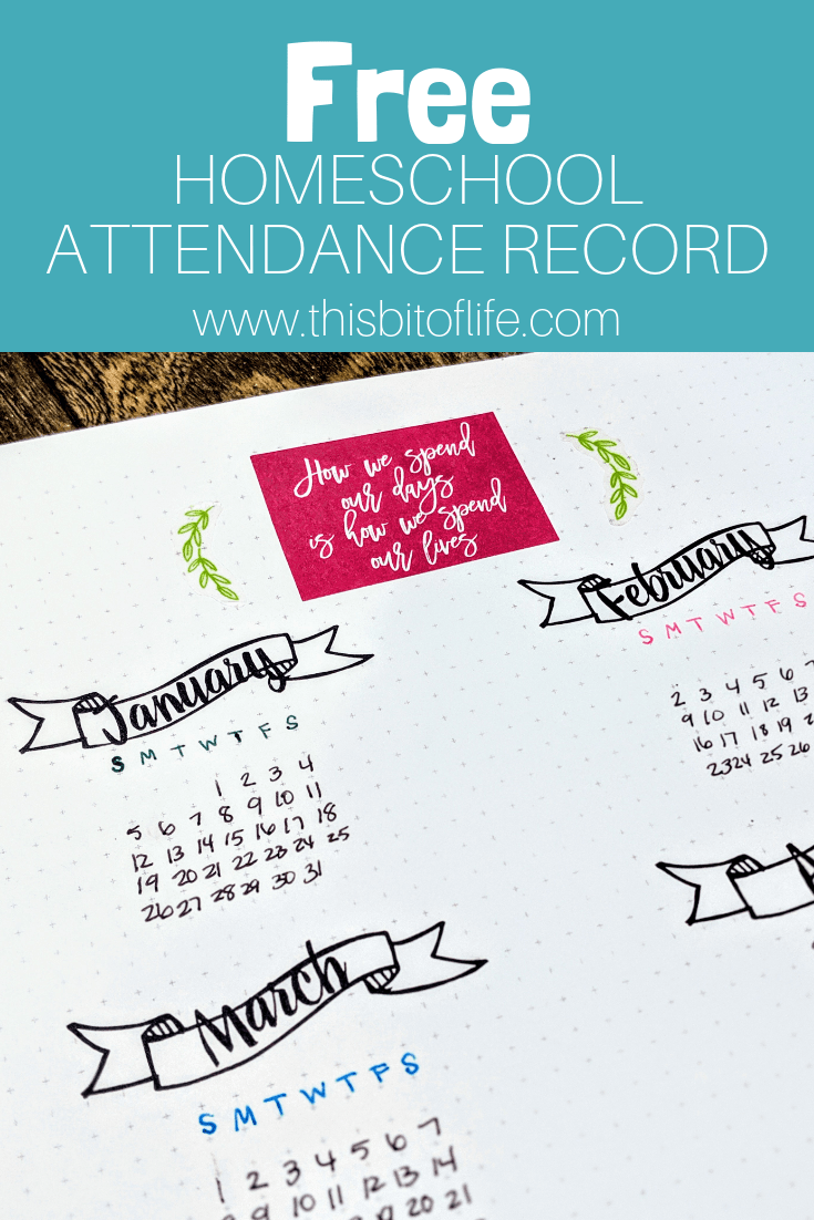 Free Attendance record printable
