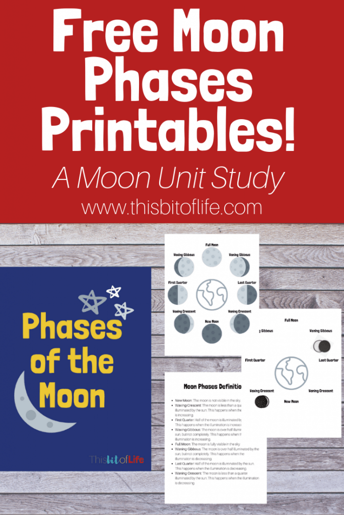 Unit Study About the Moon. Read books about the moon, make a STEM moon lander activity, and learn the phases of the moon with a free printable pack! #freeprintable #moonstudy #phasesofthemoon