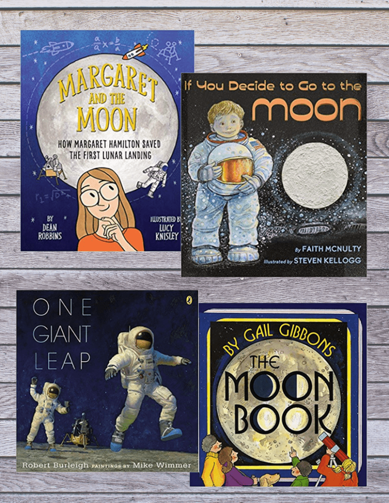 Books about the moon. In our moon study we read some amazing books all about the moon and the moon landing! #homeschooling #moonstudy #moonbooks