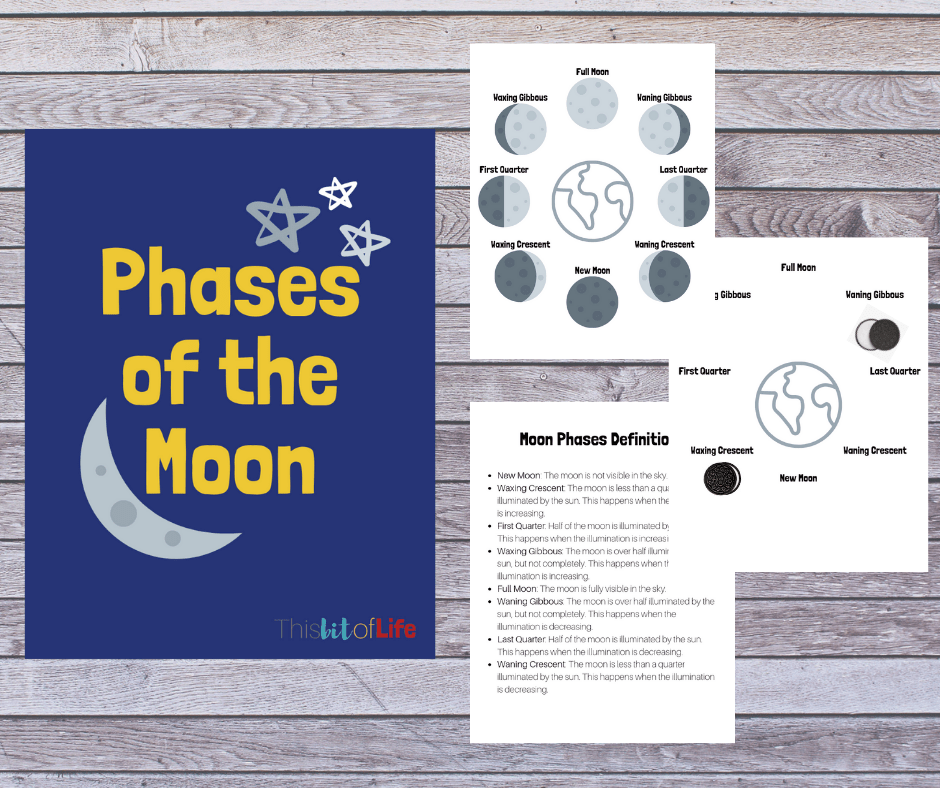 Phases of the moon free printables! Have fun during your moon study learning about the different phases of the moon and using Oreos to show what you learned! #freeprintabole #homeschooling #moonphases