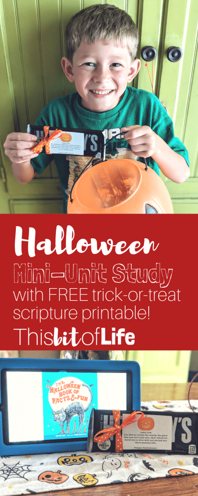 A Halloween Unit Study for your homeschool! Learn about the origins of Halloween, make some crafts, and spread the light with a scripture printable this Halloween! #halloween #unitstudy #halloweenunitstudy #homeschooling