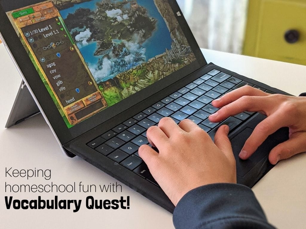 Keeping homeschool fun with Vocabulary Quest! The vocabulary game that will keep your kids learning and having fun all at the same time. #vocabularycurriculum #vocabularygame #homeschoolvocabulary