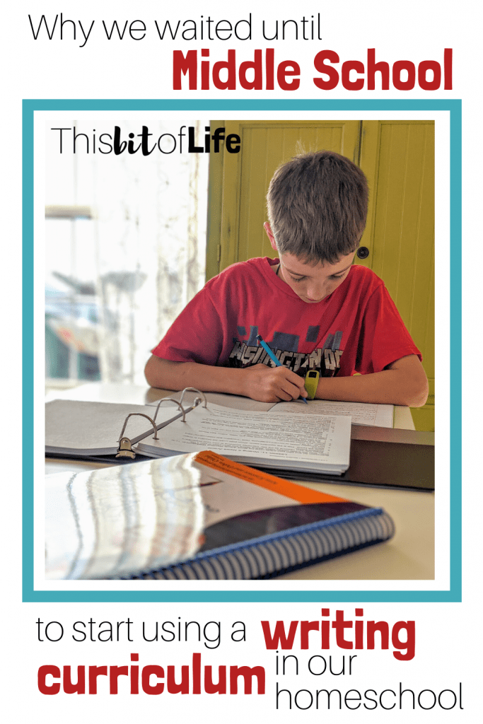 Why I waited until middle school to start using a writing curriculum in our homeschool. WriteShop I has been an amazing fit! #homeschoolwriting #writingcurriculum #middleschool