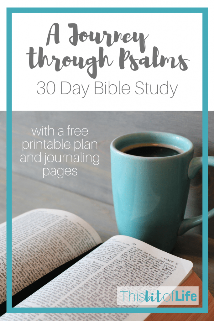A Journey through Pslams is a free Bible study with a reading plan and journaling pages to complete over 30 days. Let's dive into the gospel together as homeschool moms! #freebiblestudy #homeschoolmom #biblestudy #psalmstudy