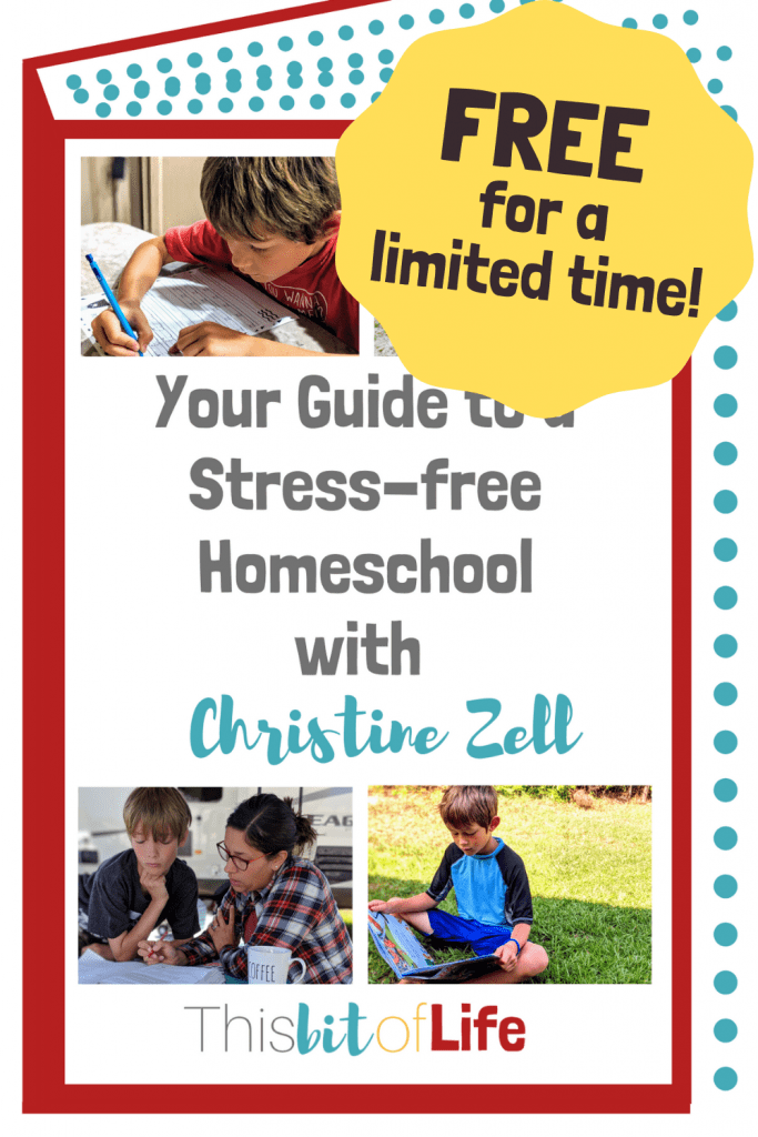 A free homeschooling guide available for a limited time! Your Guide to a Stress-Free Homeschool will guide and encourage you in starting your homeschool journey. #homeschooling #homeschool #homeschoolguide #howtostarthomeschooling