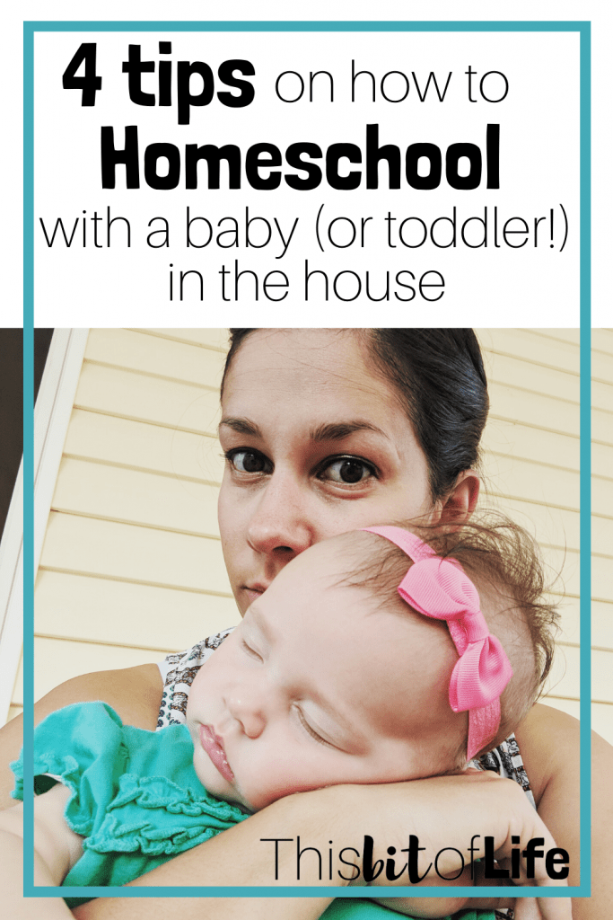 Homeschooling with a baby (or toddler) in the house can have it's challenges! Having a relaxed and flexible homeschool is key. #homeschooling #homeschoolwithababy #homeschoolwithatoddler #howtohomeschool
