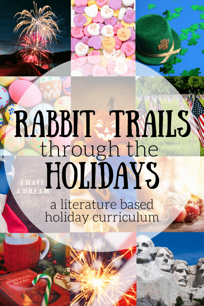Ready to add some holiday studies to your homeschool? Rabbit Trails through the Holidays is here to bring joy to your home! Read amazing books, create hands on projects, read poetry, and more through this Holiday curriculum. #rabbittrailscurriculum #holidayunitstudy #holidaycurriculum