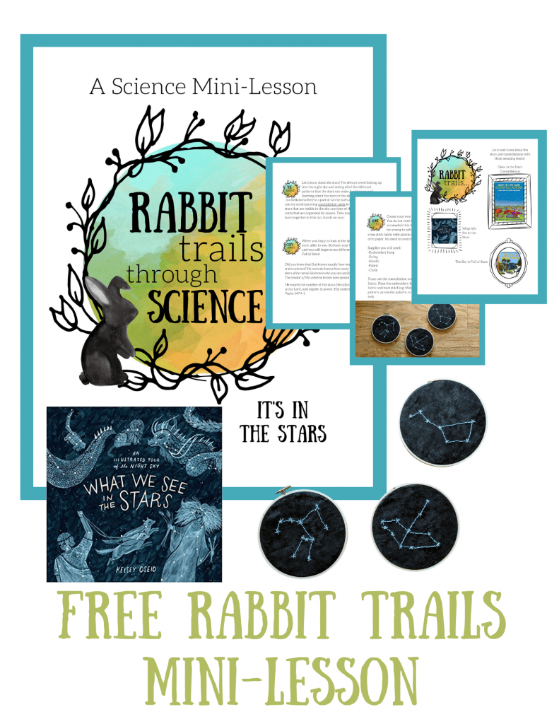 Constellation Study with free Rabbit Trails through Science lesson. We studied the constellations in our homeschool, read some wonderful books, worked on handicrafts, and used these beautiful constellation cards! #freeprintable #constellations #homeschooling #homeschoolprintable #unitstudy