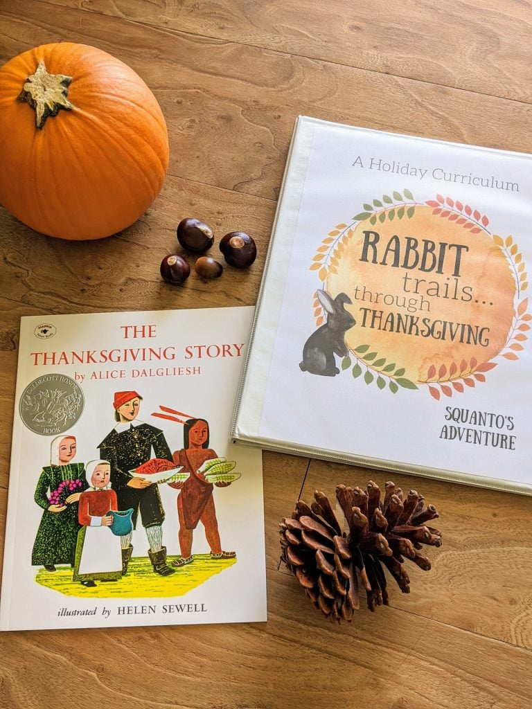 Rabbit Trails through Thanksgiving - A Charlotte Mason inpsired curriculum learning about the holiday of Thanksgiving. With real books, copywork, hands on activities, and more! #Thanksgivingcurriculum #charlottemason #unitstudy
