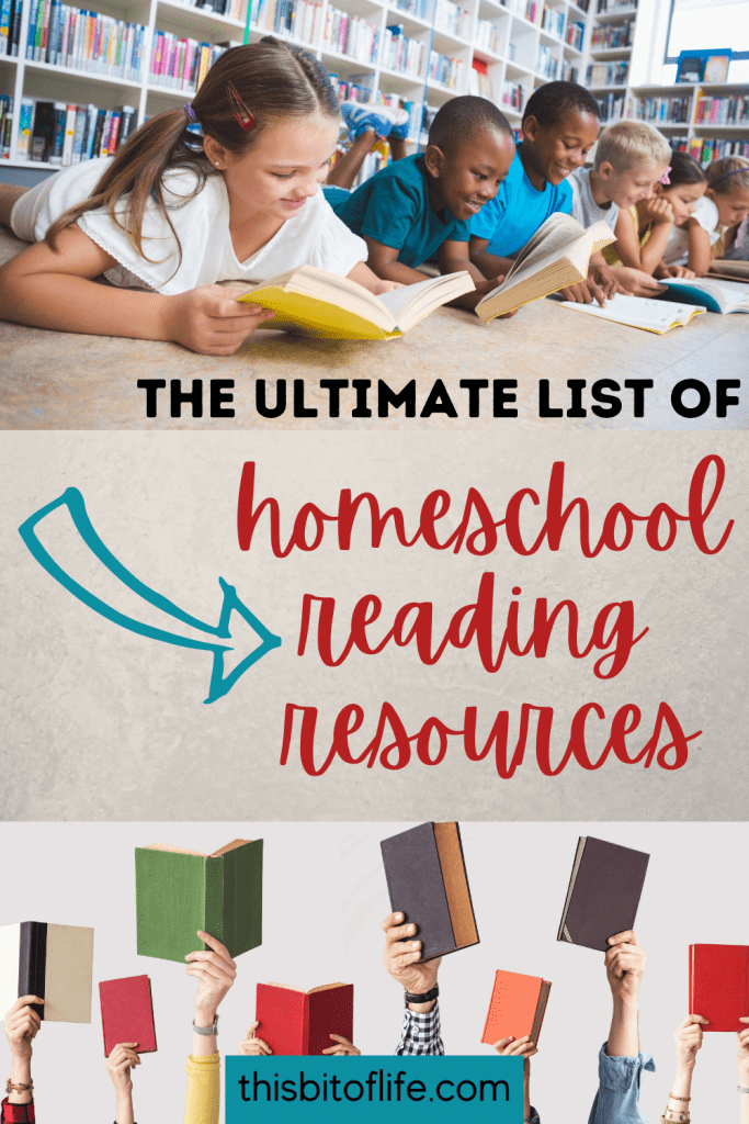 The Ultimate list of homeschool reading resources. Homeschool reading resources. Homeschool reading curriculum. homeschool reading. homeschool reading lists. reading for your homeschool. homeschool books. #homeschool #reading
