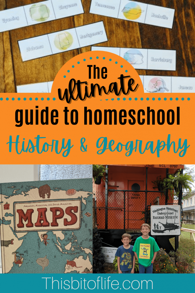 The ultimate guide to homeschool history and geography! Homeschool. Homeschool Geography. Homeschool history. History curriculum for homeschool. Geography curriculum for homeschool.  History ideas for homeschoolers. Geography ideas for homeschoolers. #homeschool #homeschoolgeography #homeschoolhistory