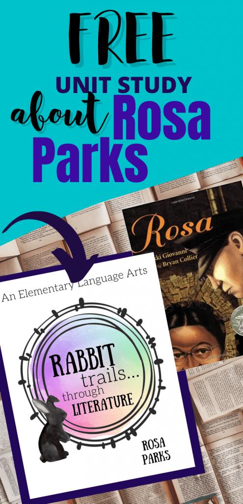 Free Rosa Parks unit study. Free unit study for your homeschool about Rosa Parks. Rosa Parks lesson. Black history month unit study. Unit Study about black women. Free Rabbit Trails through Literature lesson. homeschool unit study. #unitstudy #homeschool