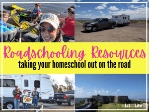Roadschooling Resources: taking your homeschool out on the road. Roadschooling tips for your family. Top Roadschooling resources. What is roadschooling? Find out how to homeschool while on the road. Homeschooling in an RV. Places to go for Roadschooling #roadschooling #homeschooltravel