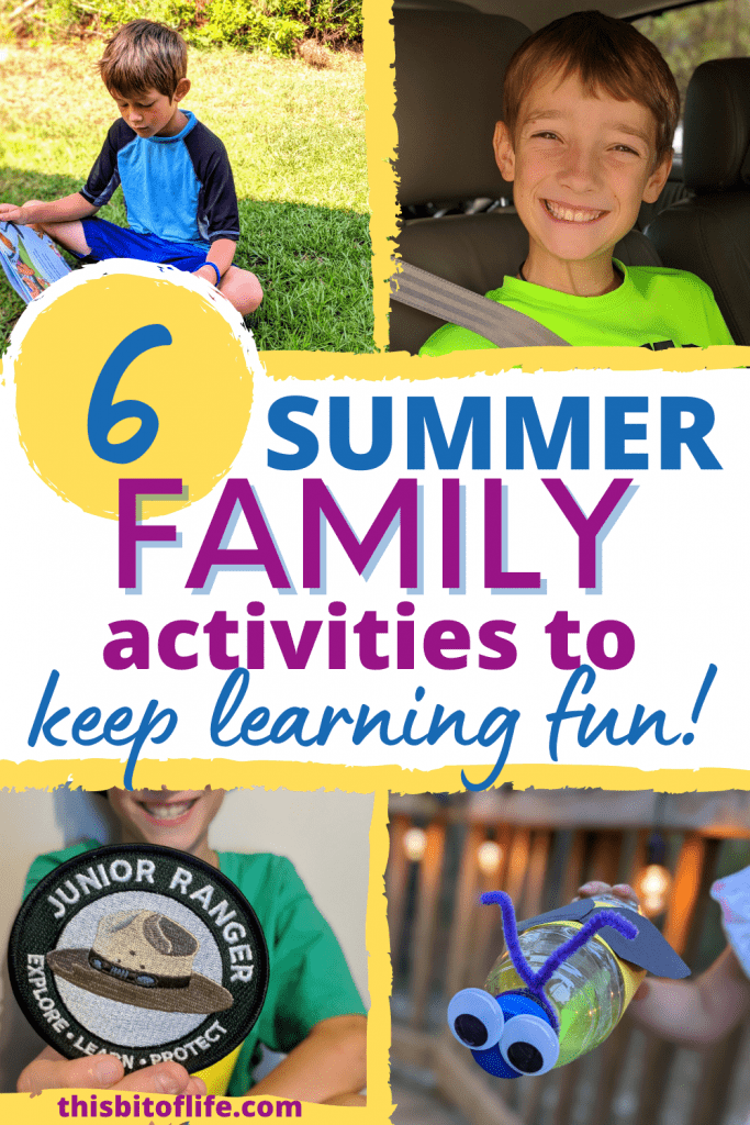 6 summer family activities to keep learning fun! Enjoy this summer as a family with these 6 summer learning activities. Boredom busters for your family this summer. Learn together as a family this summer. Free summer reading challenge. Family summer vacation ideas. Ideas for family summer fun. #summeractivity