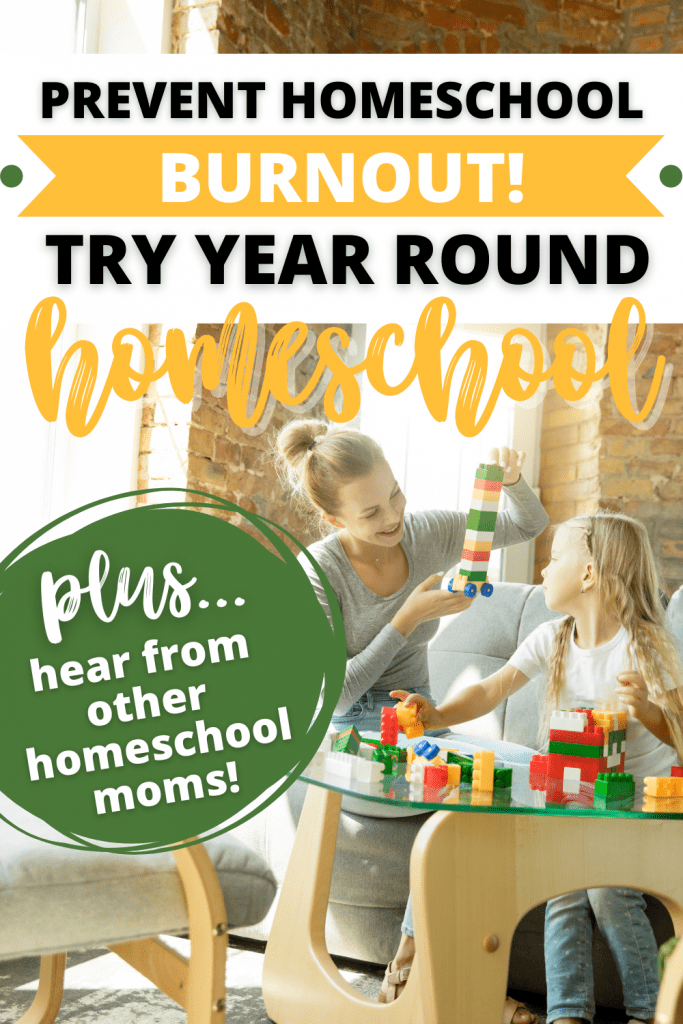 Want to prevent homeschool burn out? Try year round homeschooling with your family and see if it's the right fit for you! This homeschool schedule is somehting that has taken the stress out of our homeschool. Give the year round homeschool method a try! #homeschooling