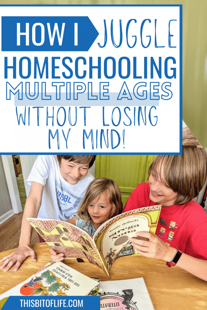 How I Juggle Homeschooling Mutliple Ages Without Losing My Mind! Are you homeschooling more than one child? Here are some things that have worked for our family while trying to juggle teaching multiple children. Homeschool tips to help you organize your homeschool. Homeschool organization. Morning basket homeschool ideas. Rabbit Trails curriculum for homeschooling multiple ages. #homeschool