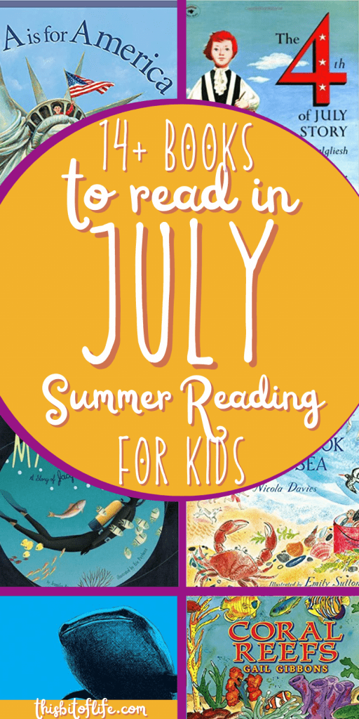 The Best Books of Summer: 14+ Books to read in July with your kids! Picture books to read in the July. Summer reading for kids. Picture books for the Fourth of July. 4th of July picture books. Picture books about the ocean. Picture books about the sharks. Books about the ocean for kids. Books about sharks for kids. #summerreading #picturebooks