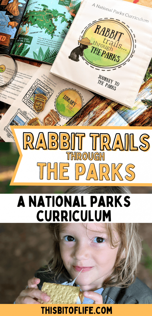 Rabbit Trails through the Parks is a literature based curriculum all about our nation's National Parks! Take the ultimate roadschooling adventure with this National Parks curriculum. Learn all about our national parks in your homeschool. Roadschool to the National Parks as a family. Lessons about the national parks. Lessons about the Smoky Mountains. Lessons about the Grand Canyon. Become a Junior Ranger at the National Parks. #nationalparks #juniorranger #homeschool