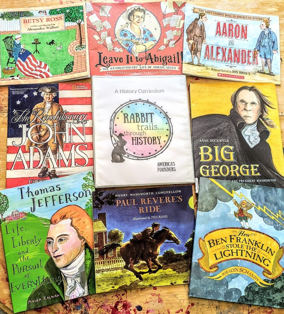Rabbit Trails through History is a brand new homeschool history curriculum! Learn about our nation's founders with this brand new literature based history curriculum. Charlotte Mason inspired history curriculum. History curriculum about the founding fathers. Lesson about George Washington. Lesson about Paul Revere. Lesson about Abigail Adams. Lesson about Betsy Ross. Lesson about Alexander Hamilton. Lesson about Benjamin Franklin. Lesson about John Adams. Lesson about Thomas Jefferson. American history curriculum for homeschool. Homeschool history. History Unit Studies. #homeschool #historycurriculum