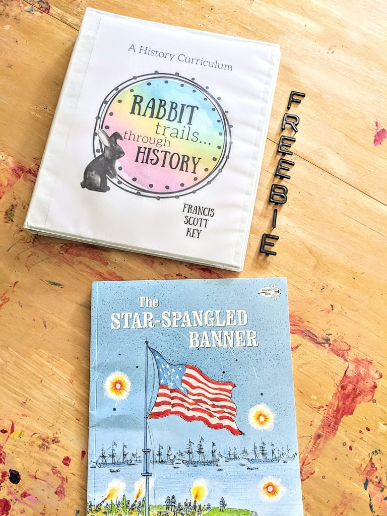 Free history lesson about Francis Scott Key. Learn about patriotic songs in your homeschool with this free Rabbit Trails through History lesson! Literature based history lesson. Free homeschool history lesson. Free lesson about Francis Scott Key. #homeschool #historycurriculum