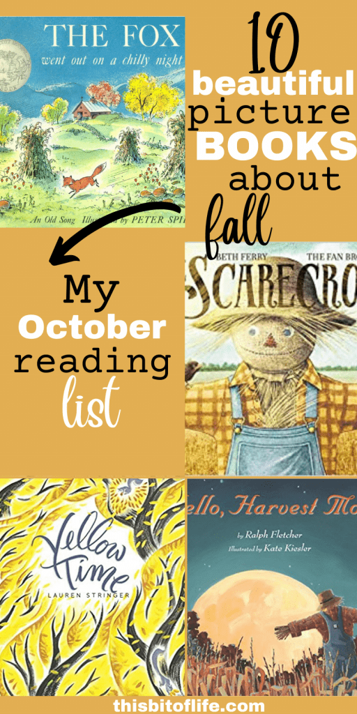 Fall is here! The days are getting shorter, the leaves are starting to change, and it's the perfect time of year to cuddle up with some amazing books to read together! I've compiled a list of 10 books that you can read together with your children to enjoy! Here are 10 beautiful picture books about fall, my October reading list! Picture books about autumn. Fall reading list. Homeschool reasing list for fall. #readinglist #fall