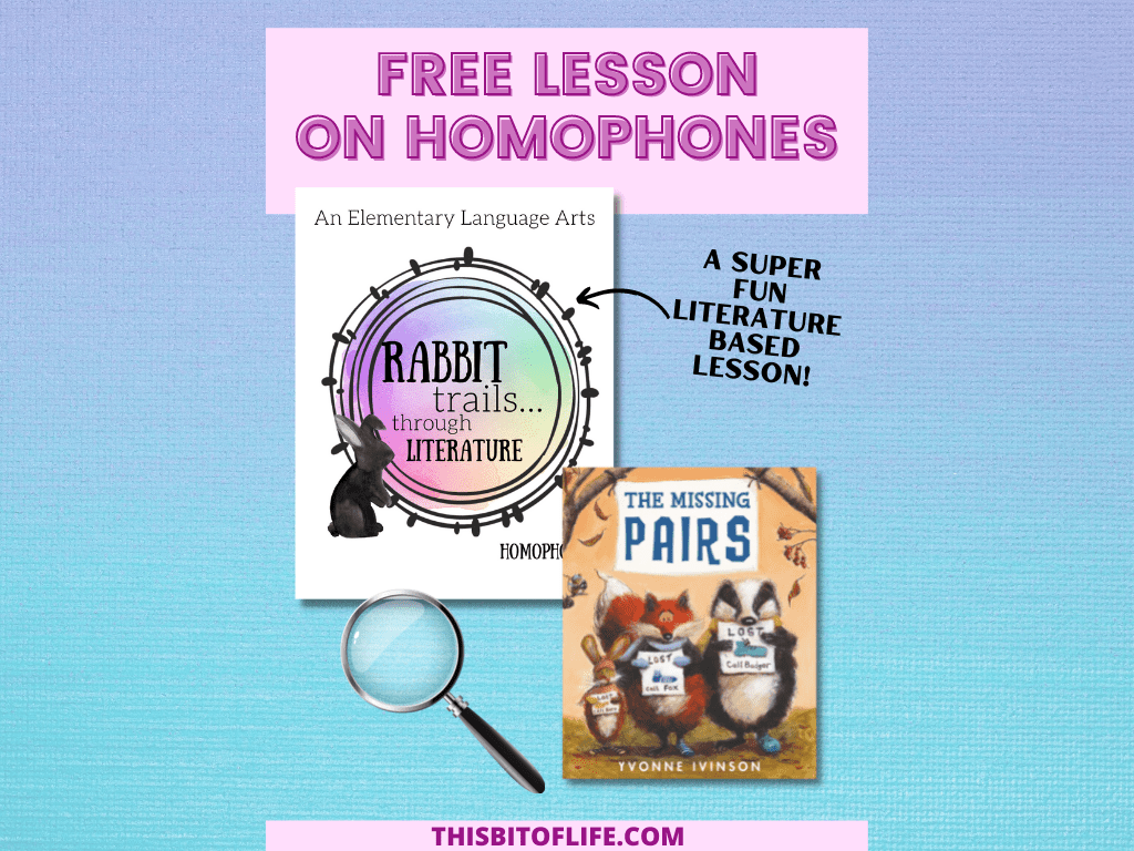 What do homophones and detectives have in common? You can find out in this FREE Rabbit Trails through Literature lesson about homophones! Make learning grammer fun in with this literature based lesson on homophones. Literature based learning. Rabbit Trails through Literature. Homeschool grammar. Homeschool language arts curriculum. #homeschool #languagearts