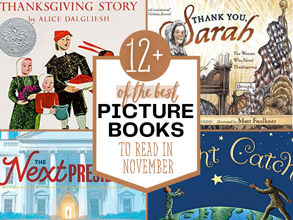 As the weather cools off, I want to cuddle up and read more books! Lucky for you, I have an entire list of great picture books to read in November. Books about Thanksgiving, Veteran's Day, and Election Day are all available below. Enjoy them together this November! Picture Books for Thanksgiving. Picture books for Veterans Day. Picture Books for the election. Childrens books for thanksgiving. Children's books for Veterans Day. Children's Books for Election Day. Literature based learning. Charlotte Mason Reading list. Homeschool reading. #picturebooks #homeschooling